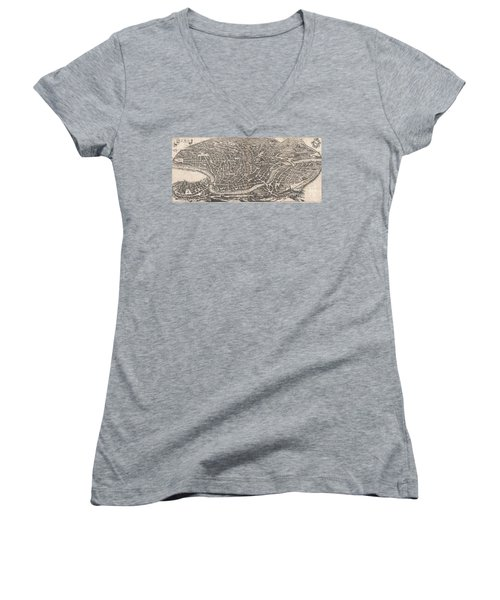 1652 Merian Panoramic View Or Map Of Rome Italy Women's V-Neck T-Shirt (Junior Cut) by Paul Fearn
