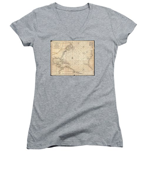 1683 Mortier Map Of North America The West Indies And The Atlantic Ocean  Women's V-Neck T-Shirt (Junior Cut) by Paul Fearn