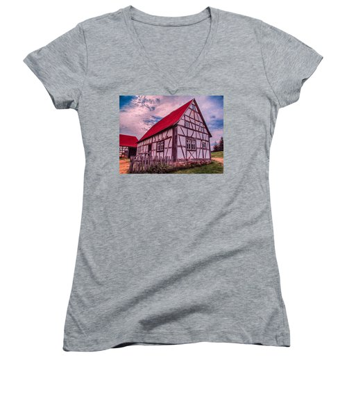 Women's V-Neck featuring the painting 1700s German Farm by Omaste Witkowski