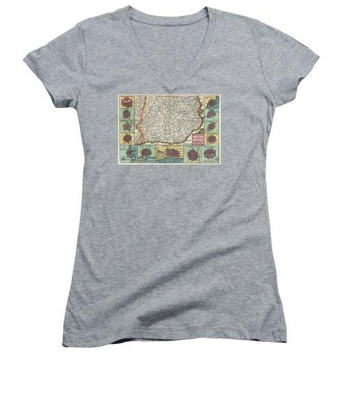 1747 La Feuille Map Of Catalonia Spain Women's V-Neck T-Shirt
