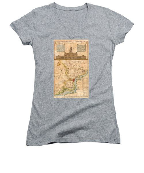 1752  Scull  Heap Map Of Philadelphia And Environs Women's V-Neck T-Shirt (Junior Cut) by Paul Fearn
