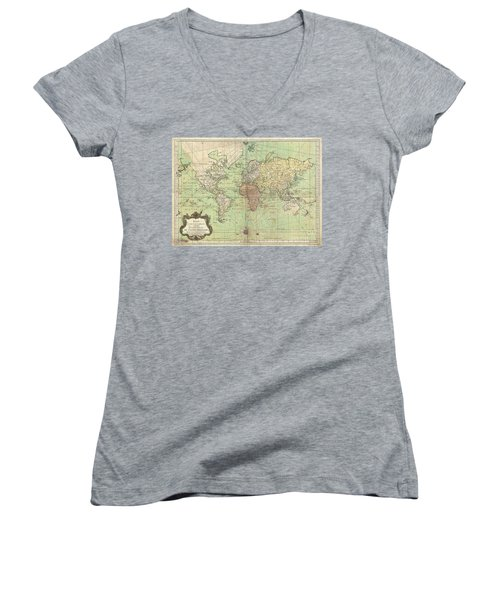 1778 Bellin Nautical Chart Or Map Of The World Women's V-Neck T-Shirt (Junior Cut) by Paul Fearn