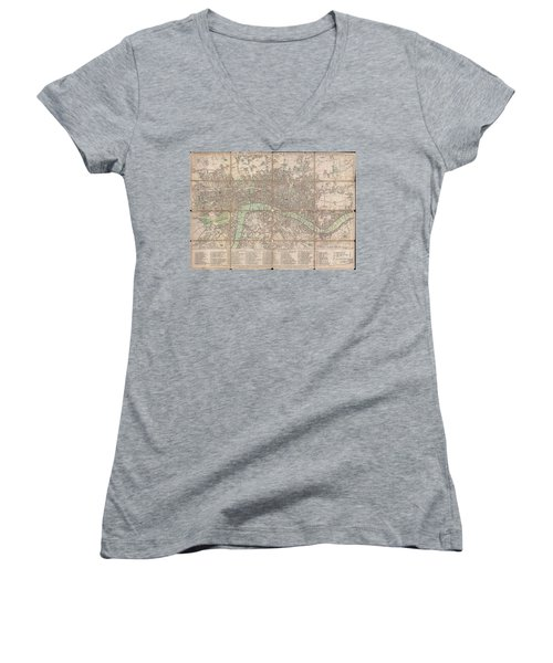 1795 Bowles Pocket Map Of London Women's V-Neck T-Shirt (Junior Cut) by Paul Fearn
