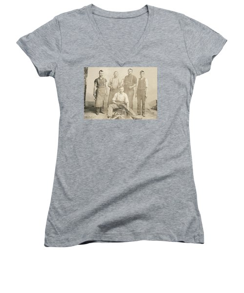 1800's Vintage Photo Of Blacksmiths Women's V-Neck T-Shirt (Junior Cut) by Charles Beeler