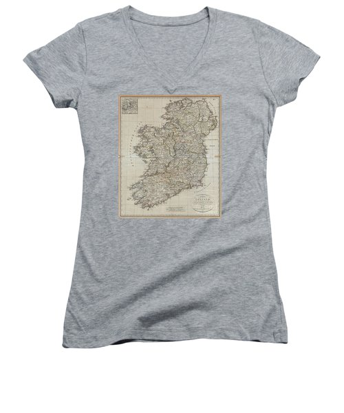 1804 Jeffreys And Kitchin Map Of Ireland Women's V-Neck T-Shirt (Junior Cut) by Paul Fearn