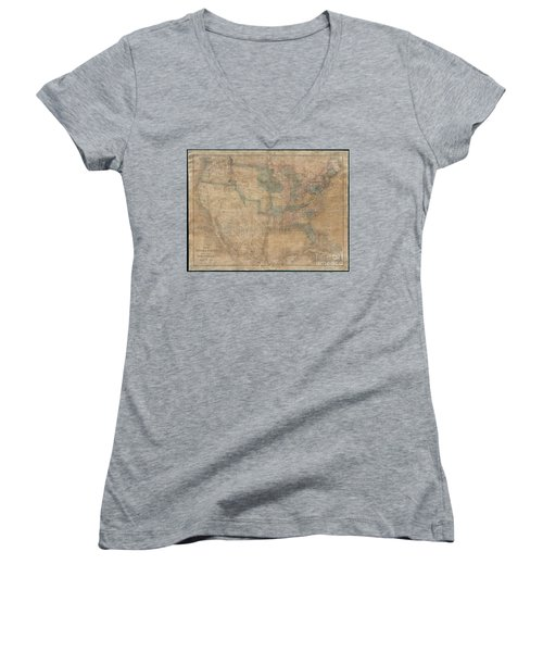 1839 Burr Wall Map Of The United States  Women's V-Neck (Athletic Fit)