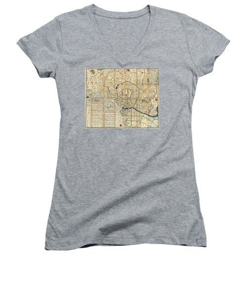 1849 Japanese Map Of Edo Or Tokyo Women's V-Neck T-Shirt (Junior Cut) by Paul Fearn