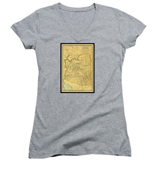 1891 Arizona Map Women's V-Neck T-Shirt (Junior Cut) by Phil Cardamone
