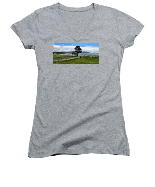 18th At Pebble Beach Panorama Women's V-Neck T-Shirt (Junior Cut) by Judy Vincent