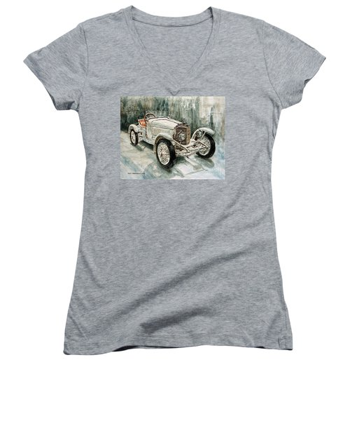 1923 Mercedes Ps Sport- Zweisitzer Women's V-Neck T-Shirt (Junior Cut) by Joey Agbayani
