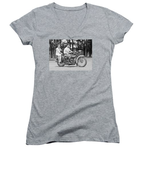 1930s Motorcycle Touring Women's V-Neck T-Shirt (Junior Cut) by Daniel Hagerman