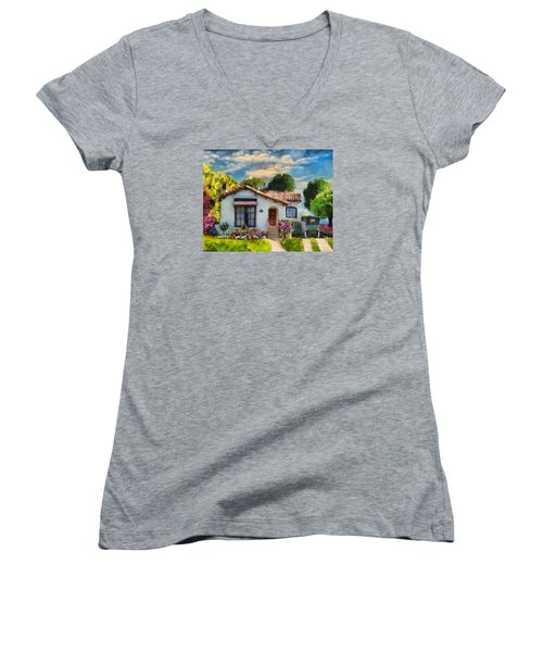 Women's V-Neck T-Shirt (Junior Cut) featuring the mixed media Alameda 1932  Spanish Beauty by Linda Weinstock