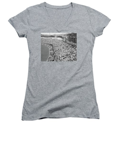 1940s 1950s Large Crowd Yankee Stadium Women's V-Neck T-Shirt