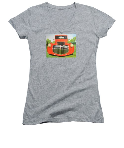1946 Red Chevy Truck Women's V-Neck (Athletic Fit)
