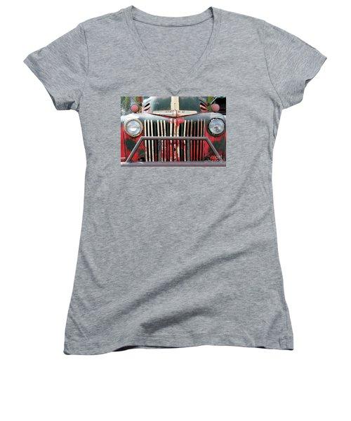 1946 Vintage Ford Truck Women's V-Neck T-Shirt (Junior Cut) by Fiona Kennard