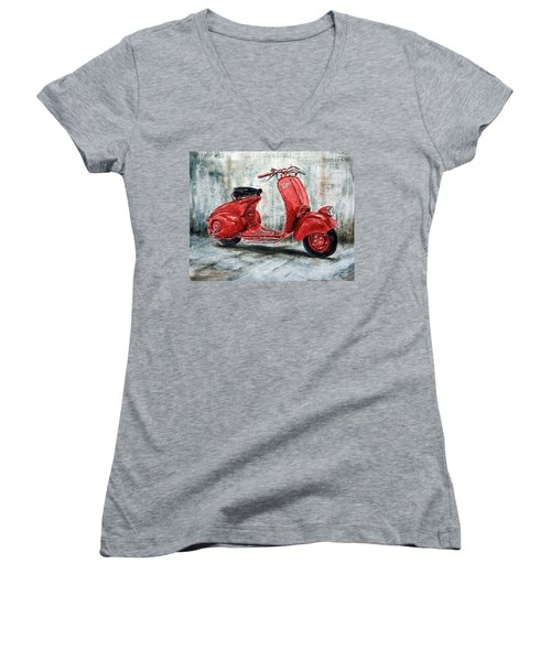 1947 Vespa 98 Scooter Women's V-Neck T-Shirt (Junior Cut) by Joey Agbayani