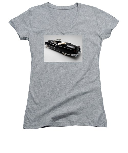 Women's V-Neck T-Shirt (Junior Cut) featuring the photograph 1950 Black Cadillac Convertible by Gianfranco Weiss