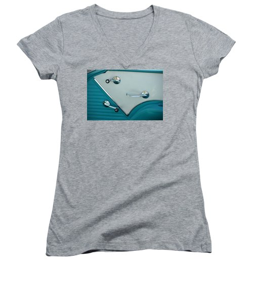 Women's V-Neck T-Shirt (Junior Cut) featuring the photograph 1950's Chevy Interior by Dean Ferreira