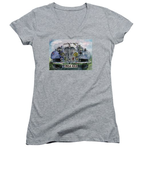 1954 Singer Car 4 Adt Roadster Women's V-Neck (Athletic Fit)