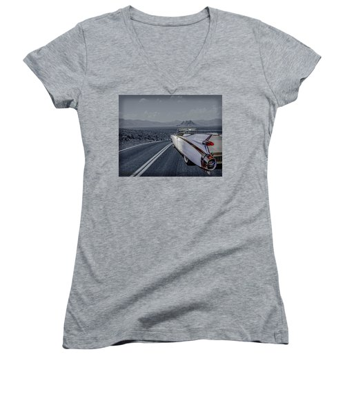 1959 Cadillac Eldorado Cool Night Women's V-Neck T-Shirt