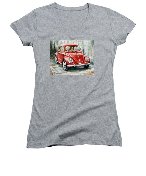 1960 Volkswagen Beetle 2 Women's V-Neck T-Shirt (Junior Cut) by Joey Agbayani