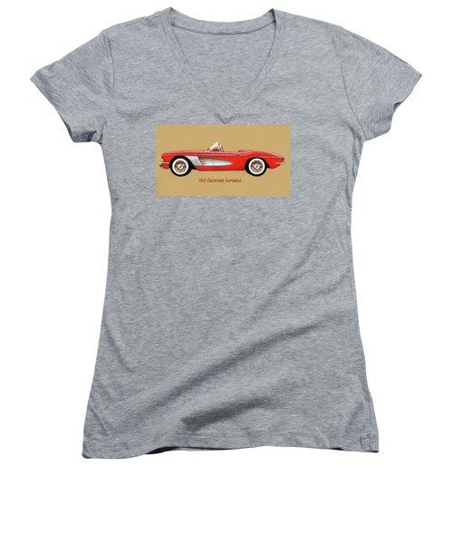 1961 Chevrolet Corvette Women's V-Neck (Athletic Fit)