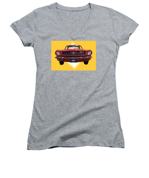 1964 Ford Mustang Women's V-Neck T-Shirt (Junior Cut) by Michael Porchik