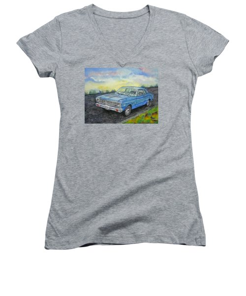 1967 Ford Falcon Futura Women's V-Neck T-Shirt (Junior Cut) by Anna Ruzsan