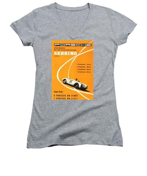 1968 Porsche Sebring Florida Poster Women's V-Neck
