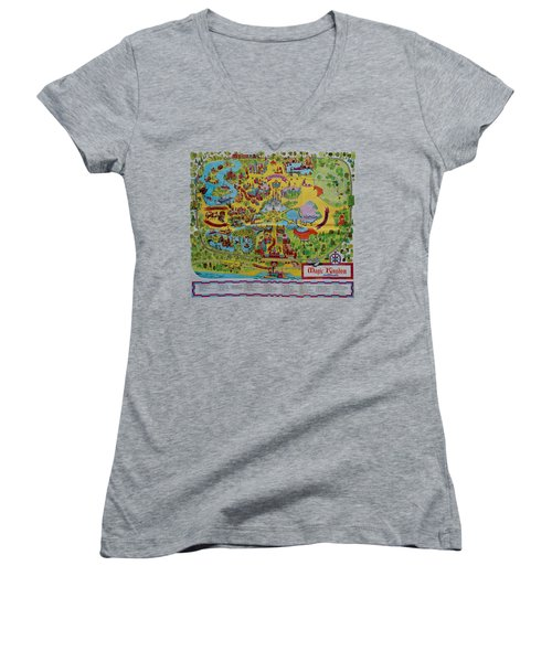 1971 Original Map Of The Magic Kingdom Women's V-Neck T-Shirt