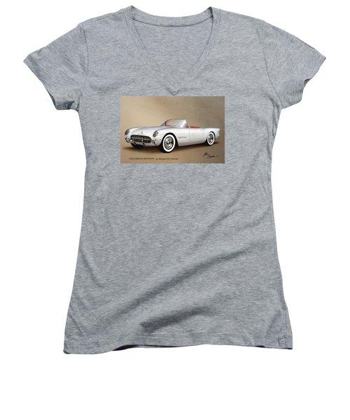 1953 Corvette Classic Vintage Sports Car Automotive Art Women's V-Neck T-Shirt