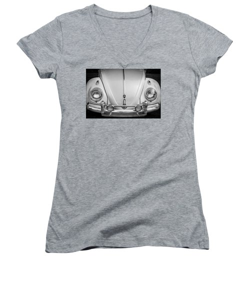 1960 Volkswagen Beetle Vw Bug   Bw Women's V-Neck (Athletic Fit)