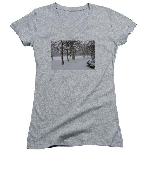 2 2014 Winter Of The Snow Women's V-Neck T-Shirt (Junior Cut) by Paul SEQUENCE Ferguson             sequence dot net