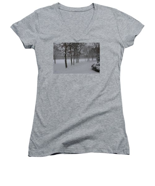 Women's V-Neck T-Shirt (Junior Cut) featuring the photograph 2 2014 Winter Of The Snow by Paul SEQUENCE Ferguson             sequence dot net