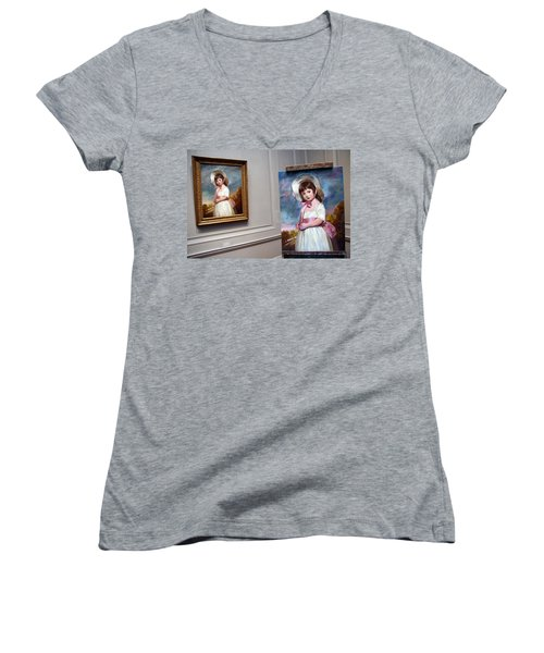 Women's V-Neck T-Shirt (Junior Cut) featuring the photograph A Painting Of A Painting by Cora Wandel