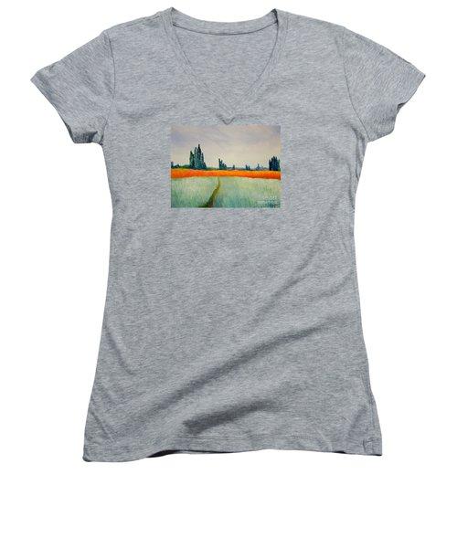 After Monet Women's V-Neck T-Shirt (Junior Cut) by Bill OConnor