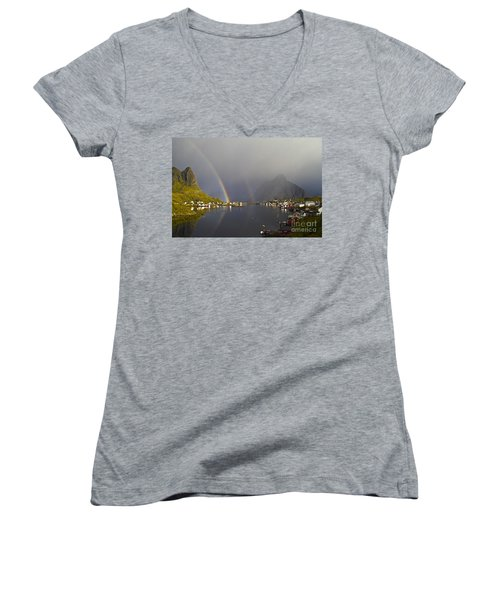 Women's V-Neck featuring the photograph After The Rain In Reine by Heiko Koehrer-Wagner