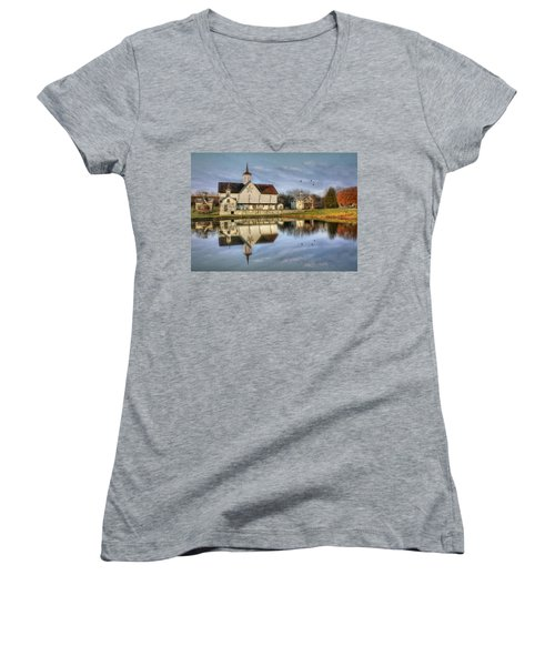Afternoon At The Star Barn Women's V-Neck T-Shirt (Junior Cut) by Lori Deiter