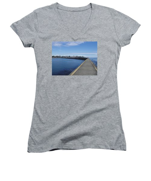 Women's V-Neck T-Shirt (Junior Cut) featuring the photograph Along The Breakwater by Marilyn Wilson