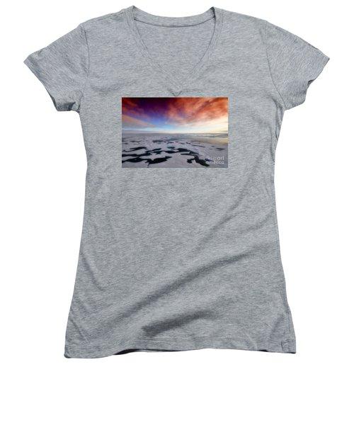 Women's V-Neck T-Shirt (Junior Cut) featuring the photograph Arctic Sea Ocean Water Antarctica Winter Snow by Paul Fearn