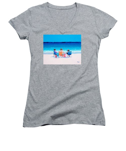 Beach Painting 'girl Friends' By Jan Matson Women's V-Neck T-Shirt