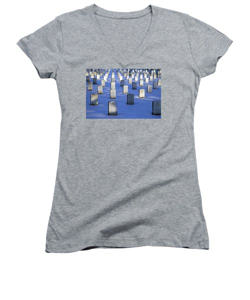 Women's V-Neck T-Shirt (Junior Cut) featuring the photograph Beneath The Snow by Cora Wandel