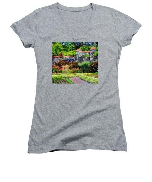 Biltmore Gardens Women's V-Neck T-Shirt (Junior Cut) by Savannah Gibbs