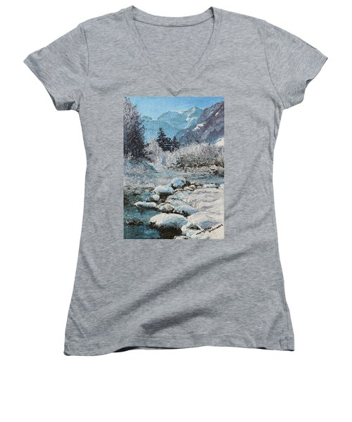 Women's V-Neck T-Shirt (Junior Cut) featuring the painting Blue Winter by Mary Ellen Anderson