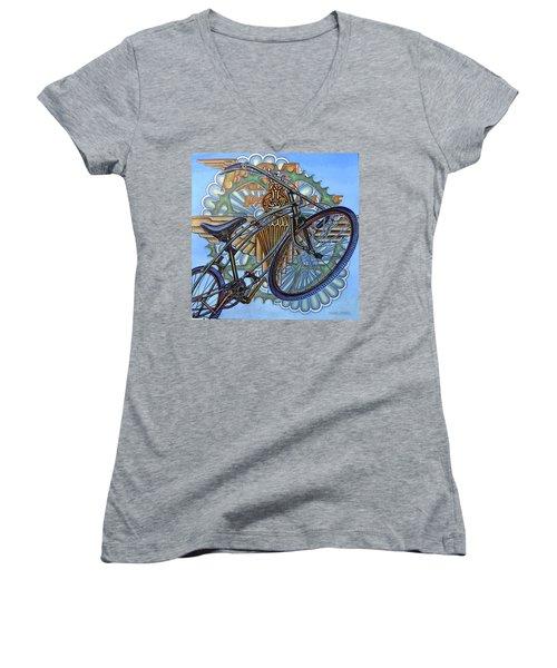 Bsa Parabike Women's V-Neck T-Shirt (Junior Cut) by Mark Jones