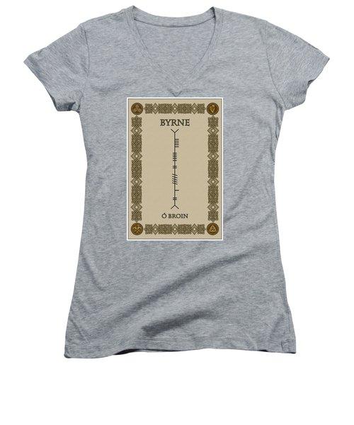 Women's V-Neck T-Shirt (Junior Cut) featuring the digital art Byrne Written In Ogham by Ireland Calling