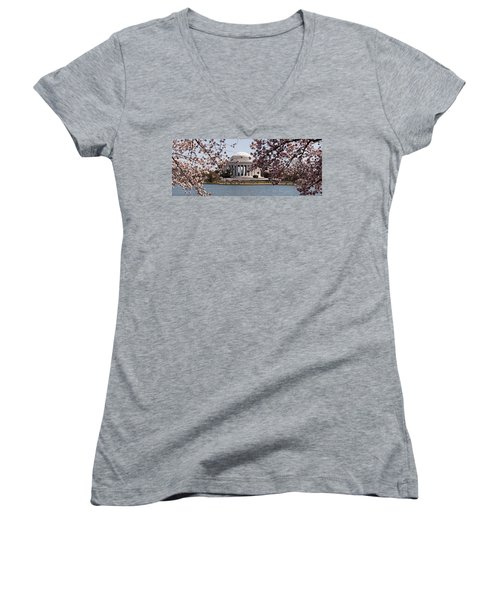 Cherry Blossom Trees In The Tidal Basin Women's V-Neck T-Shirt (Junior Cut) by Panoramic Images