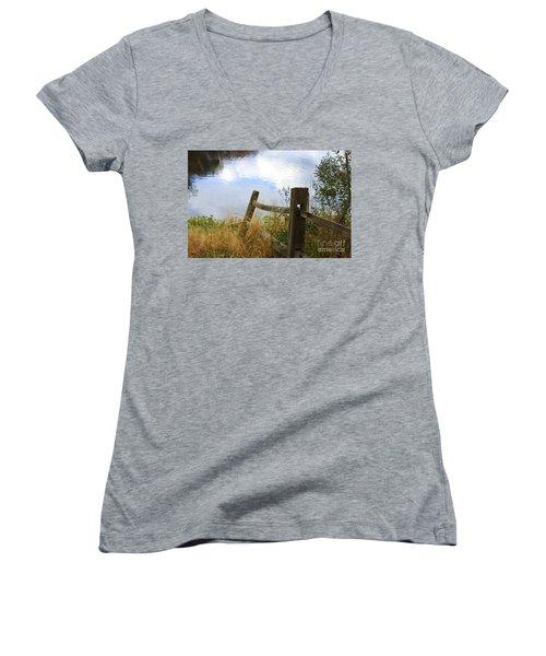 Cloud Reflections Women's V-Neck T-Shirt (Junior Cut) by Deborah Benoit