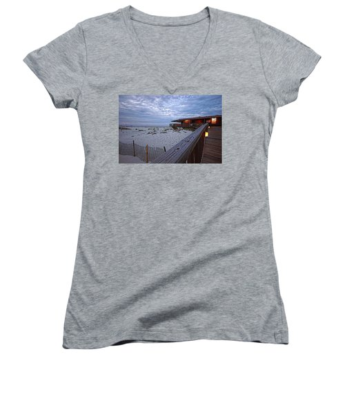Cloudy Morning At The Sea N Suds Women's V-Neck T-Shirt (Junior Cut) by Michael Thomas
