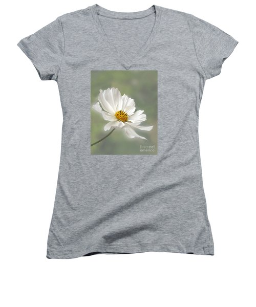 Cosmos Flower In White Women's V-Neck